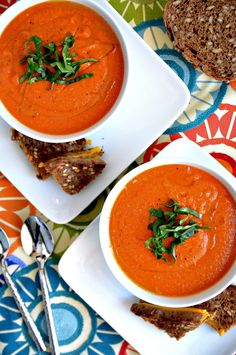 This Vegan tomato soup recipe, made with pureed cauliflower and nutritional yeast, is rich and creamy with peppers, garlic and other spices.