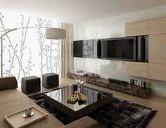 Printed & backpainted & back-lit Glass for walls | modern basement LED Glass Wall Design