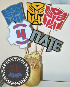 Transformers Centerpiece by partlyposeyparties on Etsy