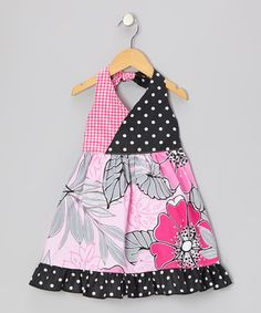 Take a look at this Pink & Hot Pink Floral Halter Dress - Toddler & Girls by Beary Basics on #zulily today!