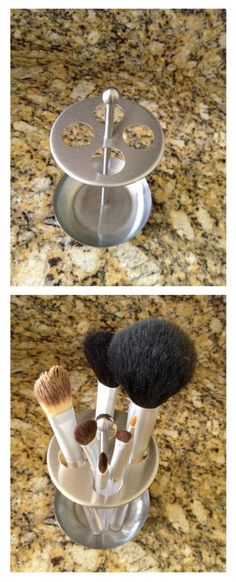 Toothbrush holder as a Makeup brush holder! Perfect for daily use brushes! #organize #beauty #makeup
