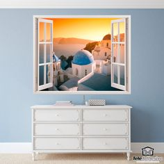 Vinyl window Sunset in Santorini. Beautiful image of a sunset on the island of Santorini \(Greece\) with a calm sea. Santorini, Window Wall, Awesome Bedrooms, Decoration, Different Styles, Wall Stickers, Backdrops, Windows, Sunset