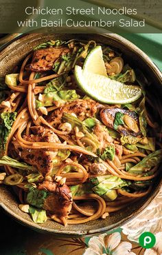 A meal so good, they named a street after it—Chicken Street Noodles with Basil Cucumber Salad.