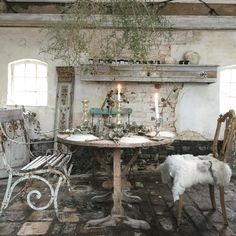 Rustic French, French Country Cottage, French Country Style, Iron Patio Furniture, Metal Furniture, Salvaged Decor, Salterini, French Kiss, Cottage Gardens