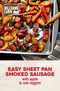 Hillshire Farm® Smoked Sausage makes a busy weeknight dinner worth savoring. This simple, one-pan roast takes under an hour to make and even less time to devour. Smoked Sausage Recipes, Pork Recipes, Diet Recipes, Chicken Recipes, Cooking Recipes, Healthy Recipes, Sausage Meals, Pan Cooking, Turkey Sausage
