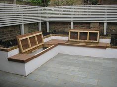 Bespoke built Seat with Underside storage (not water proof - drainage underside) Built In Garden Seating, Backyard Seating, Backyard Patio Designs, Small Backyard Landscaping, Modern Landscaping, Outdoor Seating, Back Garden Design, Terrace Design, Garden Furniture