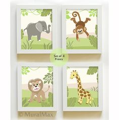 Jungle Nursery Art, Jungle Friends Nursery Print,  Nursery Wall Art , Baby Nursery Decor Set of four Nursery Prints