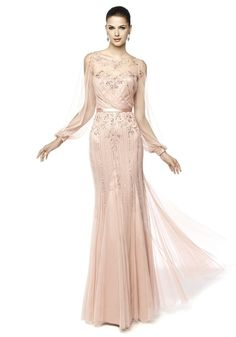 Pronovias / Boat Neck Mermaid Evening Dress With Long Sleeve - Hong Kong | Designer Bridal Room
