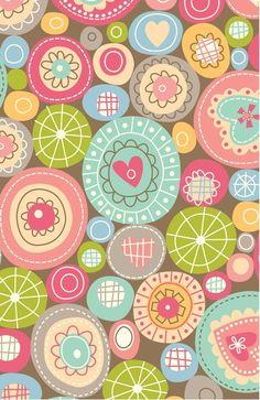 Fun Circles Art Print retro--good idea for some simple machine embroidery & those precut circles I have-