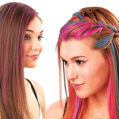 Pink hair with Temporary Hair Chalk Hair Color Easy to Wash