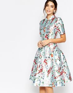 Image 1 of Chi Chi London Midi Dress on Sateen with Collar and Sleeves