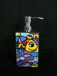 ROMERO BRITTO CERAMIC DEEPLY IN LOVE (FISH) LOTION / SOAP PUMP DISPENSER 14072 #BRITTO