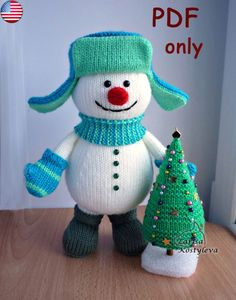 Snowman with a X-mas Tree, amigurumi knitting pattern