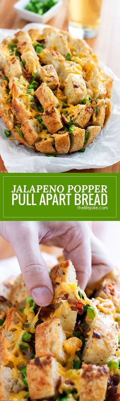 This cheesy Jalapeno Popper Pull Apart Bread is an easy recipe for game day! A loaf of bread stuffed with jalapenos, cheese and bacon; it's super quick to throw together and is sure to be a hit at your next Super Bowl Party! Bread Appetizers, Finger Food Appetizers, Appetizers For Party, Appetizer Recipes, Dinner Recipes, Party Snacks, Finger Foods, Holiday Recipes, Snack Recipes