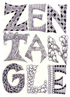 Zentangle: dibujo abstracto con patrones hechos en base alos principios del método Zentangle. De formato estándar de una superficie cuadrada de 3,5 pulgadas (8,89cm) de lado sin orientación (no tiene un lado superior ni inferior). Principios filosóficos: no se planea su creación, son deliberados e inesperados, y son una celebración de la belleza de la vida. Los trabajos que recuerdan a los Zentangles pero que no cumplen con las pautas se conocen como creaciones inspiradas en los Zentangles