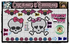 Free seed bead patterns monster high | Monster High Gráficos em Ponto X