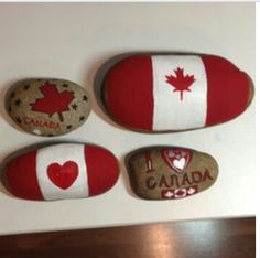 Painted by Michele Donohue, Canada Day painted garden rocks Painted by Michele Donohue, Canada Day p Canada Day 150, Happy Canada Day, Canada Eh, Canada Memes, Painted Garden Rocks, Painted Rocks, Rock Crafts, Arts And Crafts, Stone Crafts