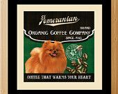 Pomeranian Coffee Art - 12X12 Modern Vintage Giclee Print - C-01-061 - Dog Art. $38.97, via Etsy.