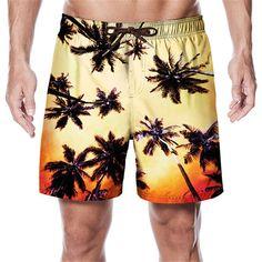 Trendy Swimwear, Swimwear Fashion, Surf Shorts, Palm Print, Shorts With Pockets, Summer Shorts, Swim Trunks, Printed Shorts, Drawstring Waist