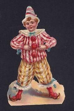 "Two 6"" Victorian Die Cuts Circus Clown Boy Joker Shoes Raphael Tuck Scraps (11/12/2013)"