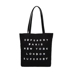 Superdry Etoile Parisian Shopper Bag (72.865 COP) ❤ liked on Polyvore featuring bags, handbags, tote bags, black, shopping bag, print tote bags, canvas tote purse, long shop bags and canvas handbags