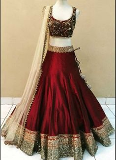 Buy online maroon banglori silk and satin bridal lehenga choli. This bridal lehenga choli is prettified with attractive patterns of embroidered and patch border which gives gleaming look. Lehenga Choli Designs, Lengha Choli, Lehenga Choli Online, Silk Lehenga, Anarkali, Saree Gown, Lehenga Designs Simple, Heavy Lehenga, Floral Lehenga