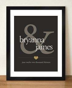 Digital Download Ampersand Personalized Wedding Gift Monogram Print - Bridal Shower GIft - Hostess Gift - First Anniversary - 8x10 - 11x14.