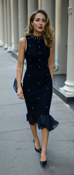 Navy ribbed midi sweater dress with pearl and crystal embellishments, classic black pumps and a black crossbody bag {Jonathan Simkhai, what to wear on Hanukkah, Hanukkah 2017, festive style, fall fashion, sweater dress, midi dress, fashion blogger, workwear party outfit, professional style, business casual, Hanukkah dress, holiday style}