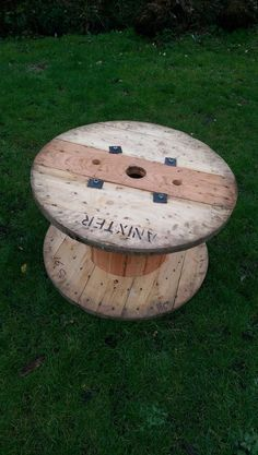 Wooden Cable Spool Drum Reel Coffee Table Shabby Chic Garden Furniture #1