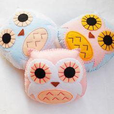Felt owl mini plush handmade decoration baby by YouYouCreation, $7.40