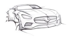 Mercedes AMG GT official sketch front three quarter
