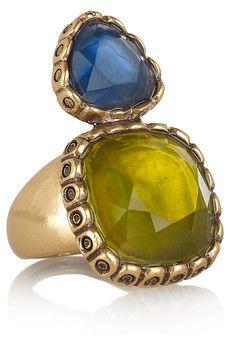 Oscar de la Renta  24-karat gold-plated resin ring