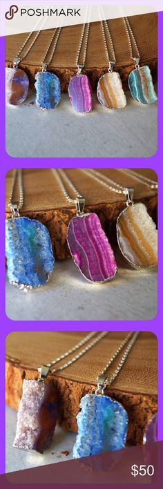 Druzy Geode Silver Pendant Necklaces! ✨ Druzy Geode Silver Pendant Necklaces!✨ The vibrant sliced Agate Geodes are half exposed to show the sparkly center of a Druzy. Silver Plated 24 inch Chain! They are also great to layer with other necklaces! Colors range from beiges to blues to pinks!✨ Jewelry Necklaces