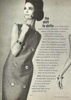 1963 McCalls ~ double-breasted wrap shift with large, showy buttons spaced far apart