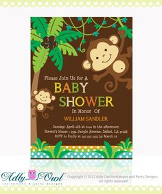 personalized jungle monkeys baby shower printable diy party invitation