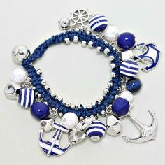 207288 / Deep Blue Bracelet with Rhodium Anchor