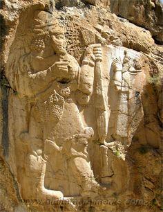HITTITE RELIEF 10TH-6TH BCE Warpalas of Tyana and the weather god Tarhunza. (Late Hittite, 9th BCE) from Kemerhisar, Eregli (near Konya), Turkey. Museum of Oriental Antiquities, Istanbul, Turkey
