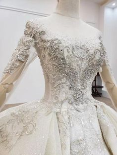 HW176 Luxury Crystal Beading Sequined Wedding Gown - Nirvanafourteen Crystal Beads, Sleeve Styles, Wedding Gowns, Ball Gowns, Luxury, Lace, Model, Fashion, Boyfriends