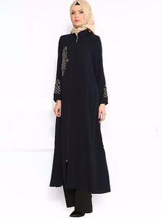 TurkishAbaya,Embroidered,Polyester,Women, pants not included,Black, Size 46 (XL) #Turkish #Abaya
