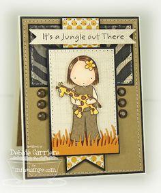 Pure Innocence Giraffe Girl card by Debbie Carriere for MFT