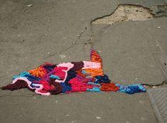 juliana santacruz herrera knits over potholes! trash to treasure indeed!