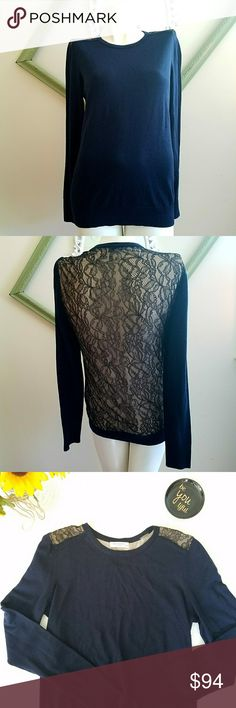 """Equipment Crew Neck Sweater Gently worn. Navy Blue with black lace and sheer lining. Long sleeve. Wool blend. Ribbed hem. Dry clean or hand wash. Thin lite weight sweater. Perfect for layering this fall. Always willing to negotiate   Measurements Bust 34.5"""" - 35.5""""  Waist 26.5"""" - 27.5""""  Hip 36.5"""" - 37.5""""  Length 25"""" Sleeve Length 25"""" Equipment Sweaters Crew & Scoop Necks"""