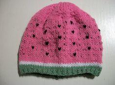 Hand Knitted Baby Hat Watermelon Melon 36 by thekittensmittensuk, $14.00