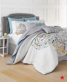 The yellows, grays and blues in this 10-Pc. set from Sahar are so pretty! We love how the fun print on this comforter makes an eye-catching statement. Shop it at macys.com now!