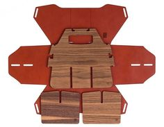 Sixfold flat-pack leather beer case carrier