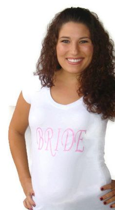 Bride shirt designed with sparkling pink text by classicchoices, $20.00