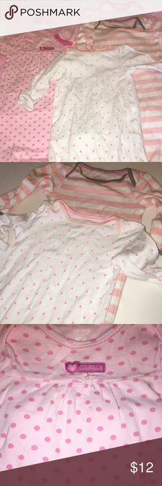 Bundle of baby nightgowns 👶🍼 5 Baby nightgowns including:  2 0-6 sized Cat and Jack nightgowns 1 3 month sized Carter's nightgown 1 sized small HB nightgown  1 sized 0-3 sized Child of Mine by Carter's nightgown  All items come from a smoke free home and laundered in organic fragrance free detergent. All items are very gently used and stain free. Carter's Pajamas Nightgowns