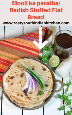 Delicious Mooli ka paratha, stuffed whole wheat flat bread stuffed with freshly grated radish/mooli and spices. Excellent filling dish. Flat Bread, Vegetarian Recipes, Spices, Dishes, Spice, Tablewares, Dish, Signs, Vegetable Dip Recipes