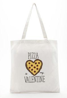 Pizza Valentine Canvas Tote