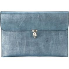 Alexander McQueen skull flap clutch (17 205 UAH) ❤ liked on Polyvore featuring bags, handbags, clutches, blue, alexander mcqueen handbags, skull handbag, genuine leather purse, leather skull handbag and leather handbags